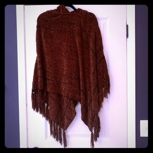 Jackets & Blazers - Chenille Hooded Poncho with Tassels